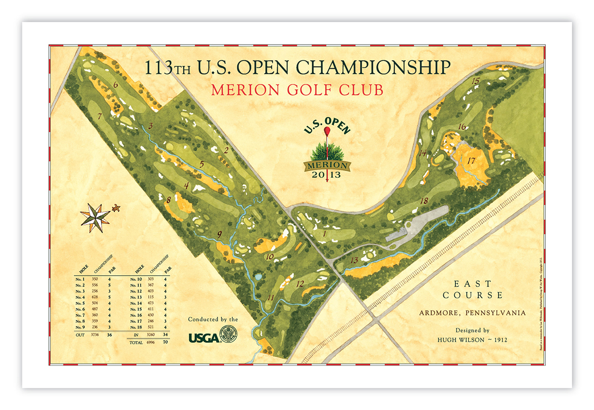 Signed US Open Course Map Of Merion Golf Club - Us open course map
