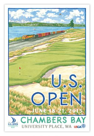 Lee Wybranski's poster for the 2015 U.S. Open at Chambers Bay