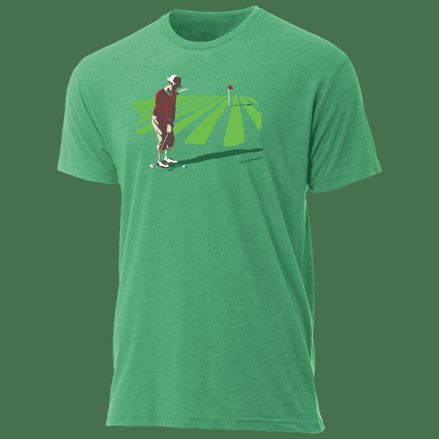 Pitching piper tee shirt by golf artist lee wybranski for T shirt printing chandler az