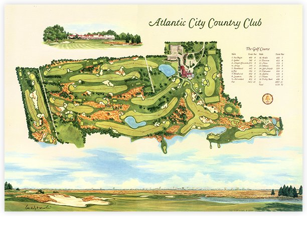 Atlantic City Golf >> Atlantic City Country Club Course Map Print
