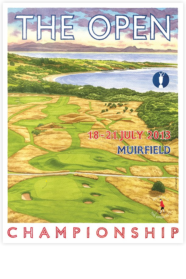 signed 2013 open championship poster of muirfield